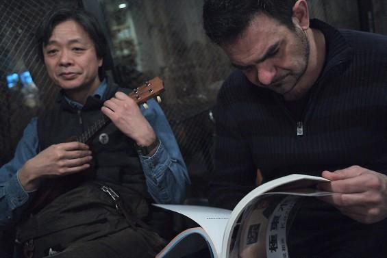 Kotaro Iizawa playing the ukelele in Megutama
