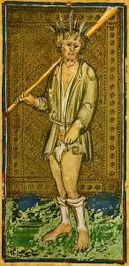 Carta del loco de la baraja Visconti-Sforza