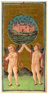 Carta del mundo, en el tarot Visconti-Sforza